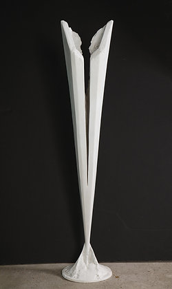 (#1802) Sculptural Torchiere by Kelly Kiefer. WHITE