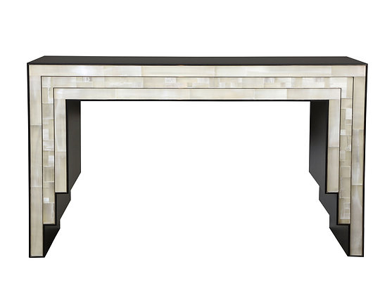 (#1748) Gypsum Inlaid Console Table by Design Drake Anderson