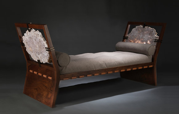 (#1860) Daybed with Brazilian Agate mounted arms by Studio Greytak
