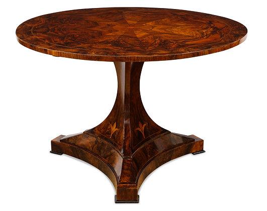 (#1540) A Magnificent Burl Walnut Tilt-Top Center Table