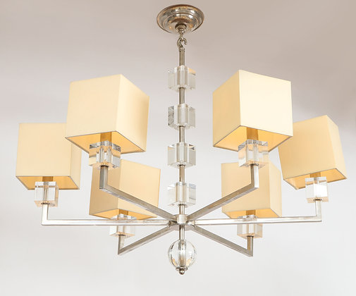 (#2036) Modern Chrome and Lucite Chandelier