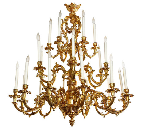 (#2029) French Louis XVI Style 24 Light Bronze Chandelier