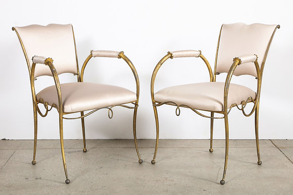 (#2113) Pair of Art Deco Gilt Iron Chairs, by Rene Drouet