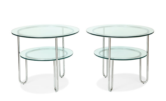 (#1255) Pair of Chrome and Glass Tables