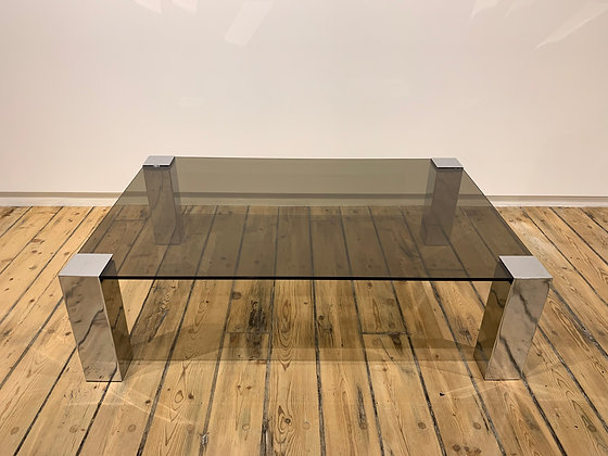 (#1824) Italian Smoked Glass and Chrome Coffee Table by Cudie