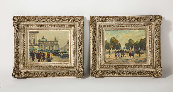 (#2018) Pair of Oil Paintings- Paris Streets