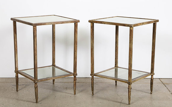 (#2123) Pair of Painted Iron and Mirrored Tables