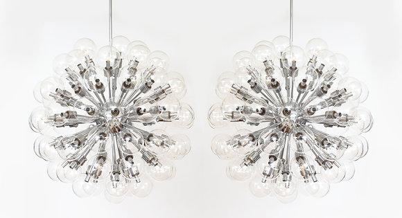 (#2033) Pair of Monumental Polished Chrome Sputnik Chandeliers