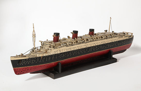 (#1974) An Early Hand Made Wood Model of the RMS Queen Mary