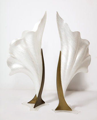 (#2157) Pair of Monumental Lily Form Lamps, Attributed to Rougier
