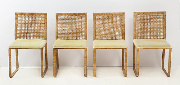 (#2045) Harvey Probber Woven Rattan Dining Chairs
