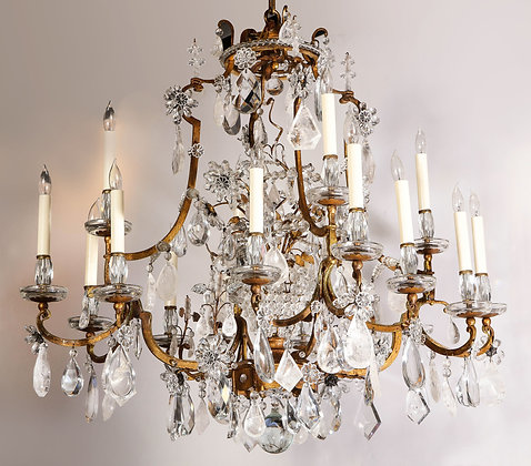(#2027) Large Scale Rock Crystal Chandelier by Maison Bagues