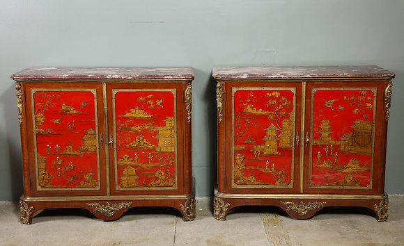 (#1712) Pair of  French 1940s Transitional Style Red Chinoiserie Cabinets