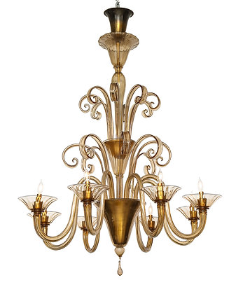 (#1985) A Large Hand-Bown Amber Glass Chandelier Attributed to Fratelli Toso