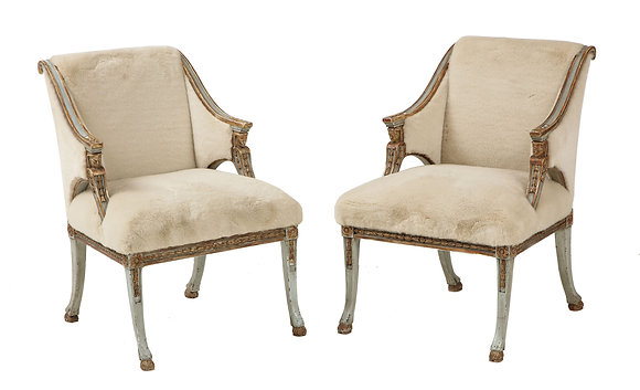 (#1947) A Pair of Swedish Blue Painted and Silver Gilt Arm Chairs