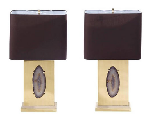 (#1019) Pair of Brass Lamps with Agate Inset by Willy Daro
