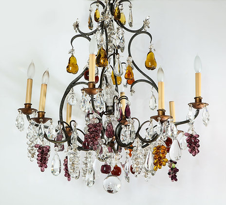 (#2028) French Baccarat Eight Light Chandelier with Colored Fruit Pendants