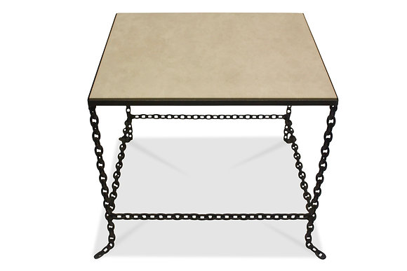 (#1387) Stone Topped Chain Link Table