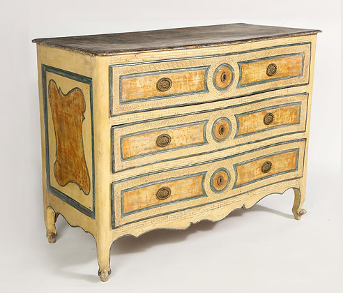 (#1963) Italian Painted 3 Drawer Commode