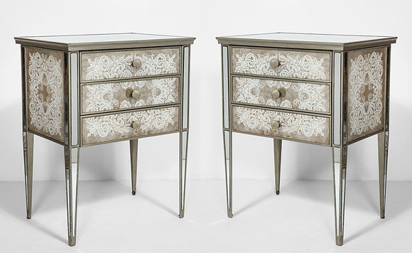 (#2121) Pair of Eglomisé Mirrored Tables