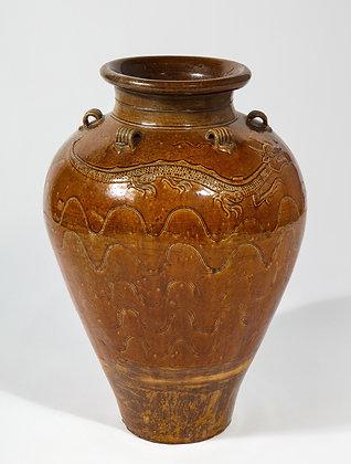 (#1955) Large Chinese Martaban Ming Dynasty Stoneware Storage Vase with Dragons