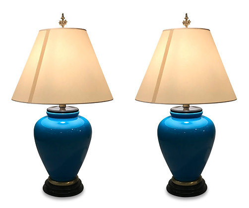(#1086) Pair of Large Blue Ceramic Lamps by Fredrick Cooper