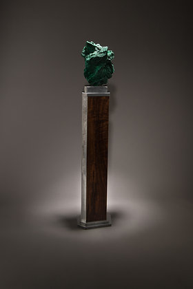 (#1872) Malachite on Walnut and Aluminum Base