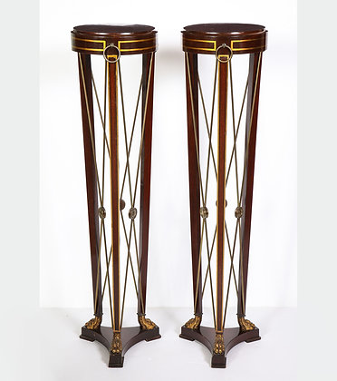(#1914) Pair of Regency Style Mahogany Pedestals by Grosfeld House