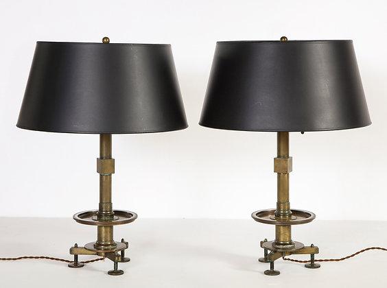 (#2092) Pair Bronze Industrial Lamps