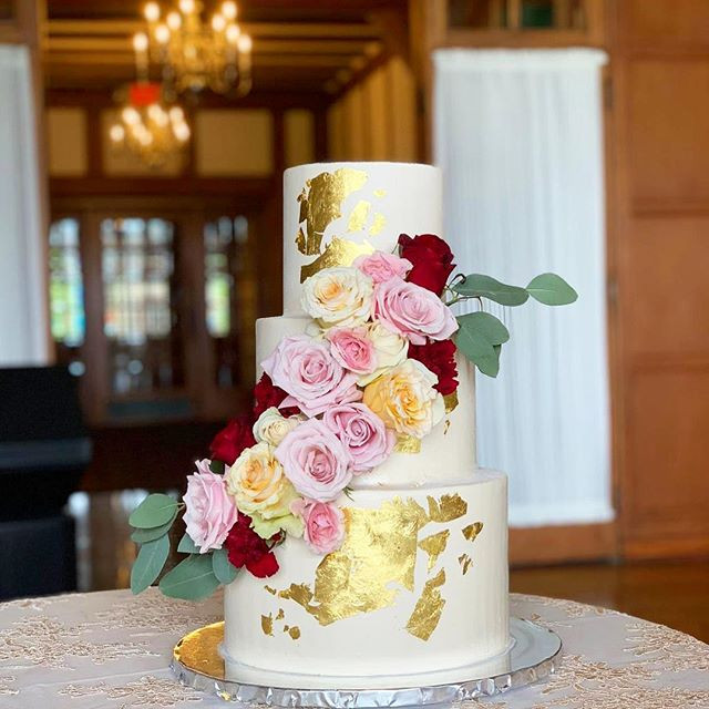24k gold leaf engagement cake with rusti