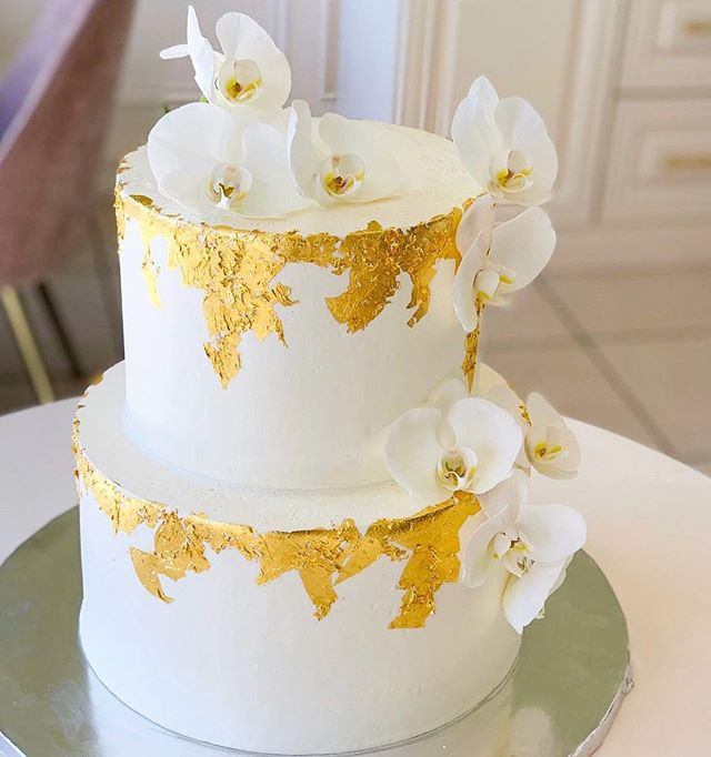 Simple Engagement cake make with 24k gol