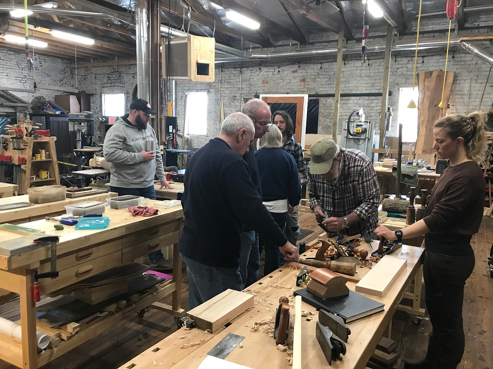 Shop Class runs this hands-on hand tool workshop every month or two. Instructor Joe is very knowledgeable about planes, chisels, and scrapers.  He teaches how to tune, sharpen and use the hand tools.