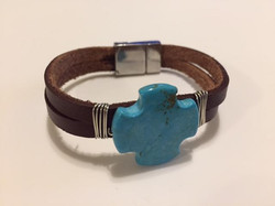 Brown Leather with Blue Magnesite Cross
