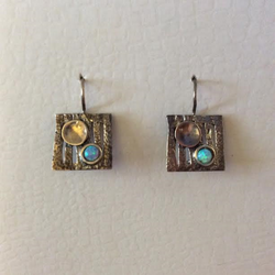 STERLING SILVER AND SPARKLING OPAL EARRINGS