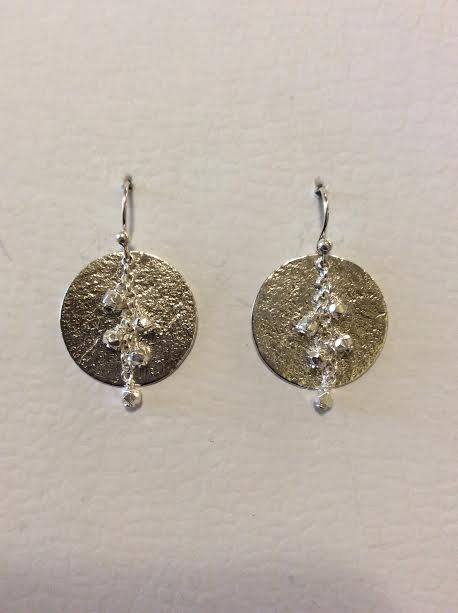 STERLING SILVER BEADED CIRCLE DROP EARRINGS