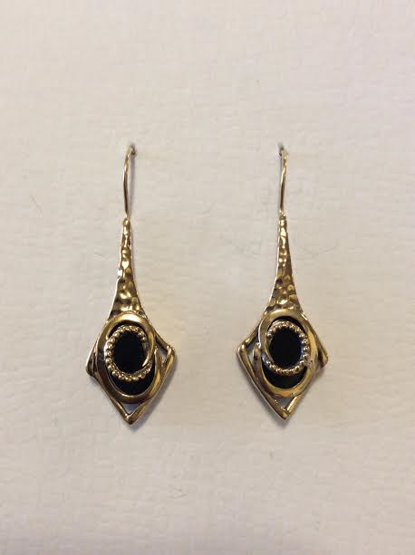 BRONZE WITH BLACK ONYX EARRINGS
