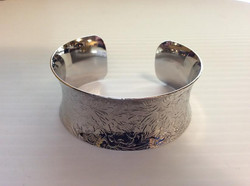 Sterling Silver Plated Floral Cuff