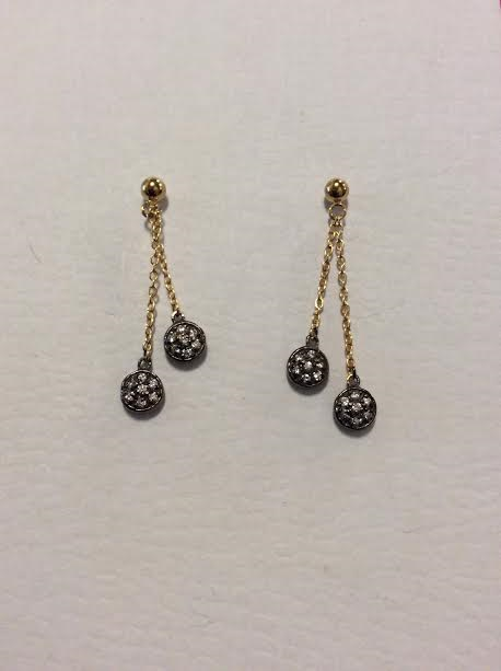 14KGP WITH CZ DROP EARRINGS