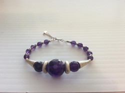 Faceted Amethyst Bead with Silver