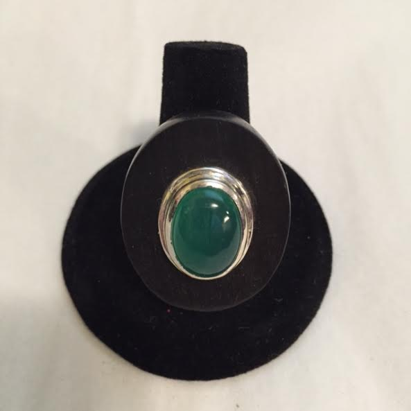 Oval Wood with Green Stone