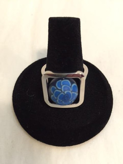 Blue Floral Bead