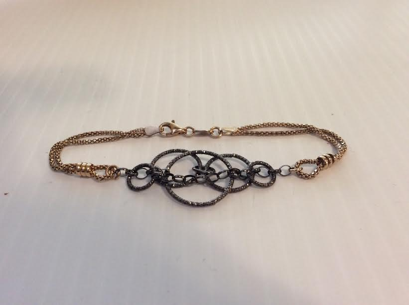 14KGP and Dark Gray Chain Bracelet