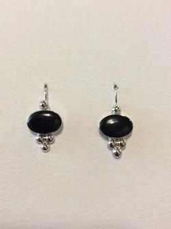 BLACK ONYX OVAL EARRINGS