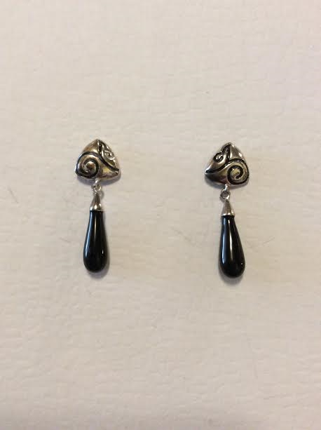 STERLING SILVER WITH BLACK ONYX DROP EARRINGS