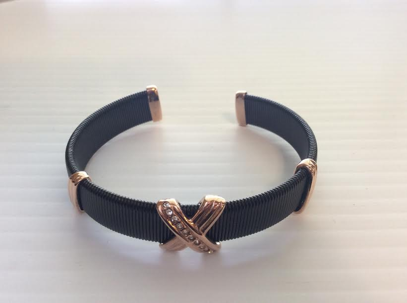 Rose Gold X on Black Cuff