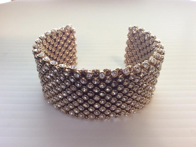 Gold Crystal Chain Cuff