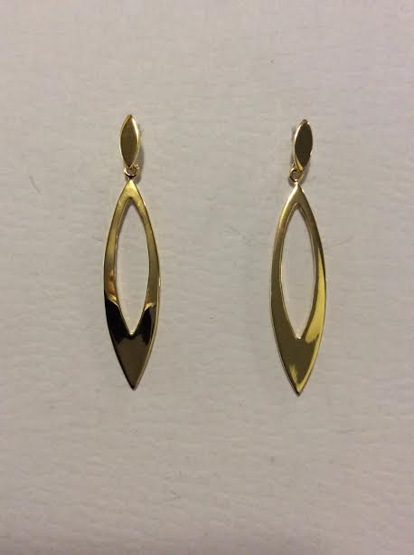 Gold Tone Elongated Slit Earrings