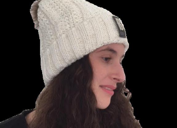 כובע קרם עם פרווה