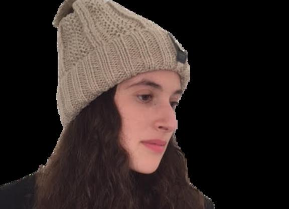 כובע חום בהיר עם פרווה