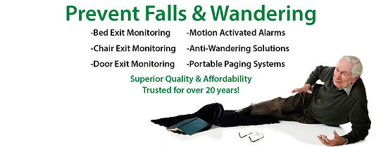 Prevent Falls and Wandering by the elderly. Image shows an elderley gentleman after falling